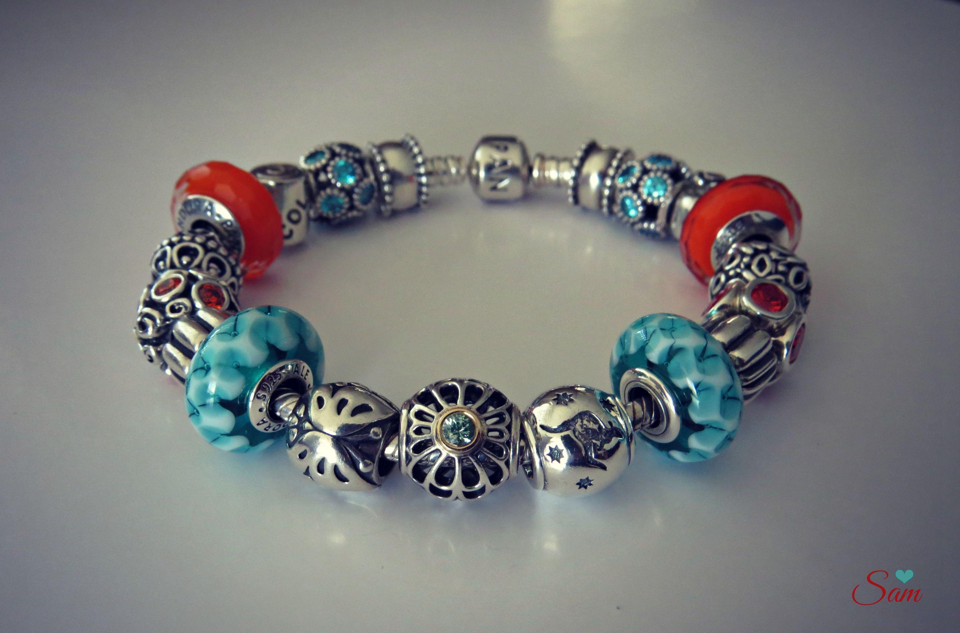 PANDORA Orange and Teal Murano Bracelet. | www.goldcasters.com ...