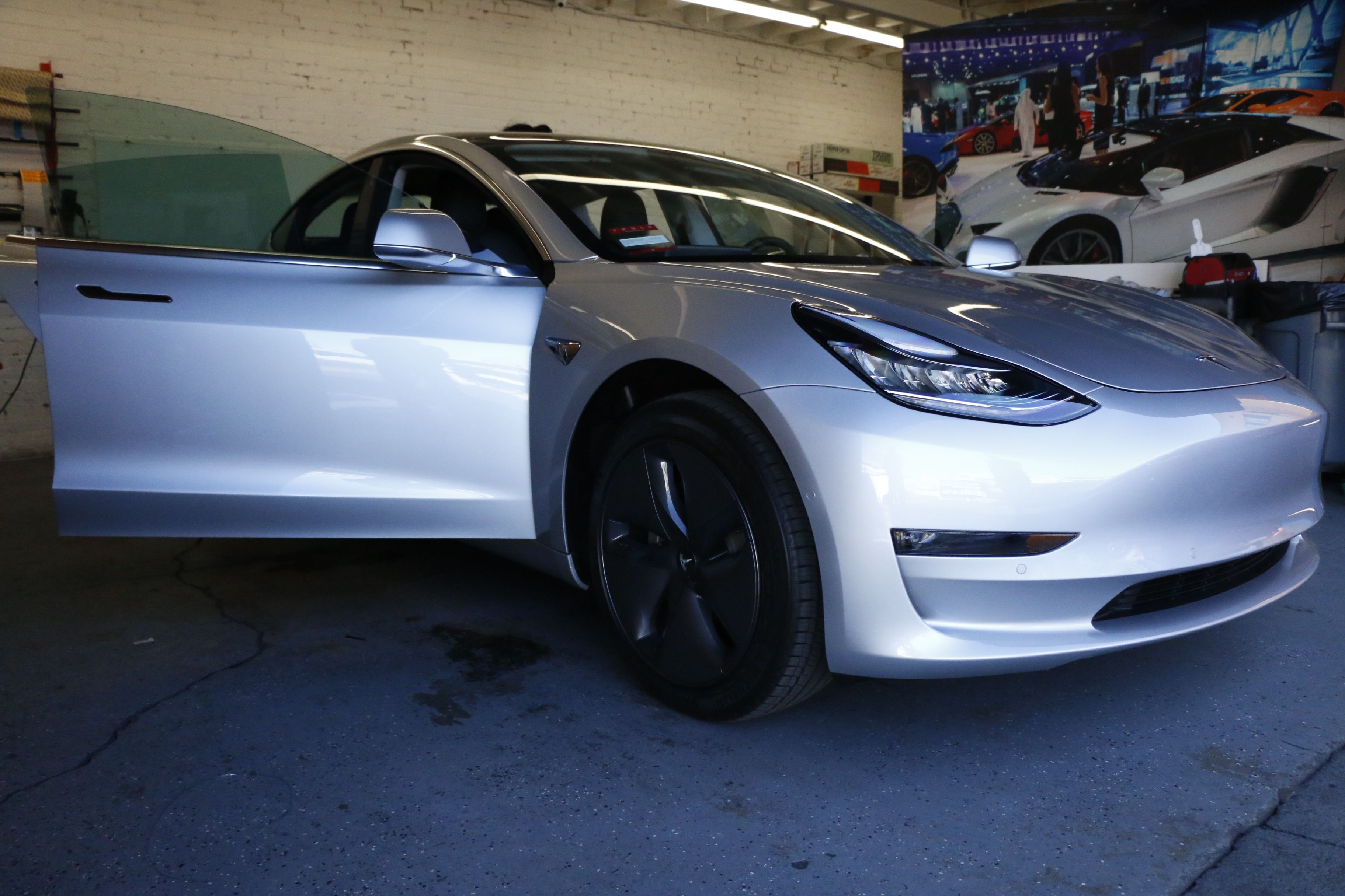 Tesla Model 3 Window Tint And Clear Bra Protection Tinted