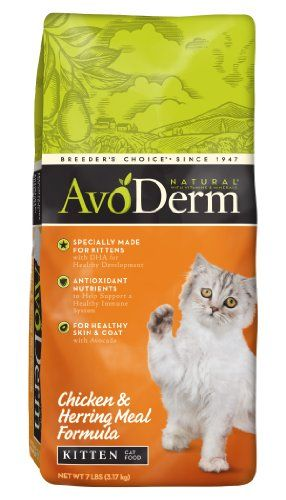 $18.95-$18.95 Since Breeder's Choice began in 1947, we've been uncompromising in our pursuit of the healthiest nourishment for the pets we love. AvoDerm Natural was created for the complete health of your cat. Carefully formulated for the everyday health needs for today's cats, AvoDerm Natural starts with premium protein sources in delicious combinations to satisfy even the finicky cat. Pet paren ...