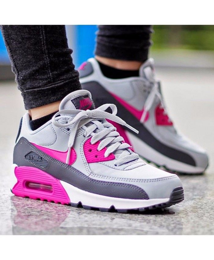 Nike Air Max 90 Essential Womens Pink Grey Trainers