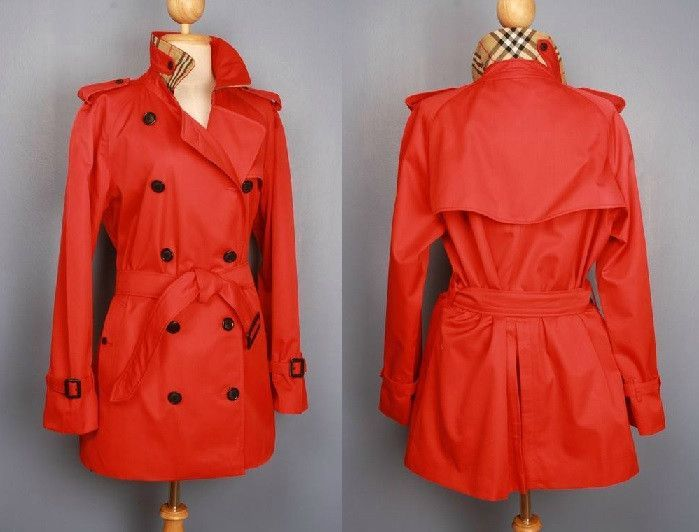 Womens BURBERRY bespoke short trench coat mac red - size 14/16 large
