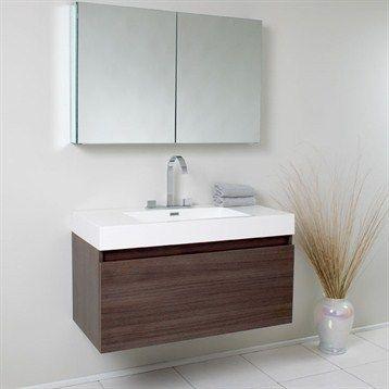 Fresca Mezzo Gray Oak Modern Bathroom Vanity W Medicine Cabinet Custom Designer Bathroom Cabinet Inspiration Design