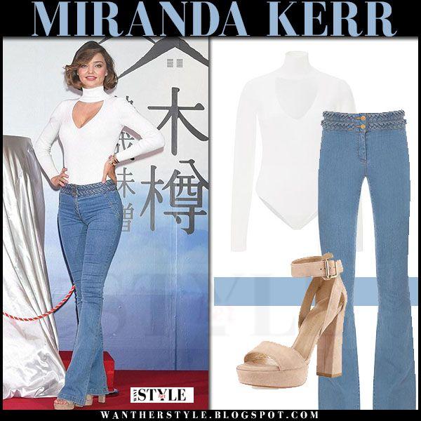 Miranda Kerr In White Bodysuit And Flared Jeans