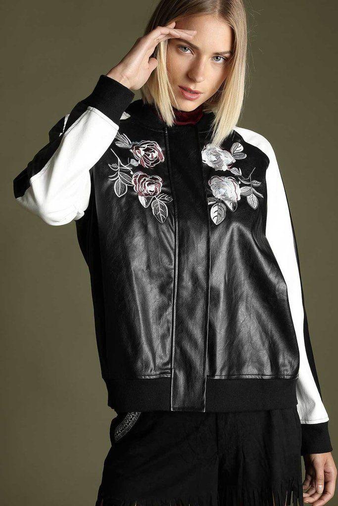 Vintage Rose Black Vegan Leather Bomber Jacket Bomber