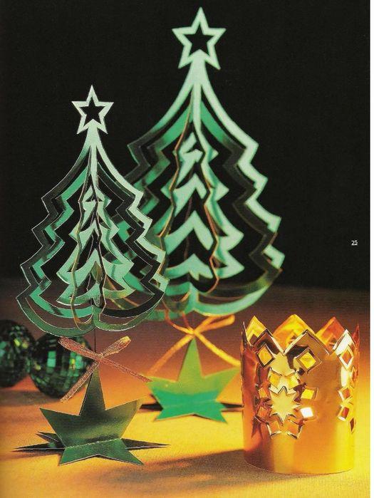 Рождественские украшения из бумаги,картона,фольги,блесток,бусин