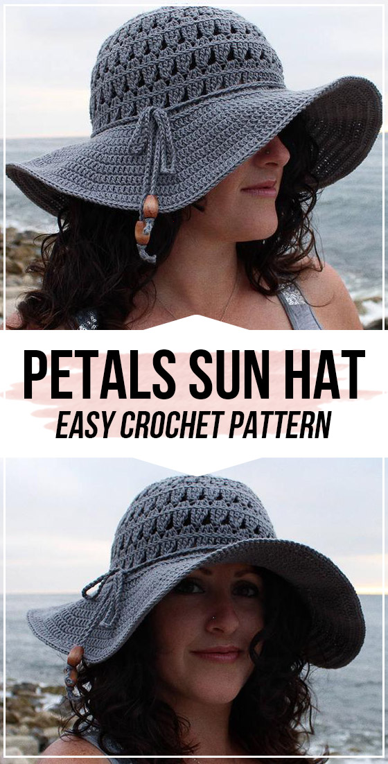 crochet Petals Sun Hat pattern - easy crochet hat pattern for beginners