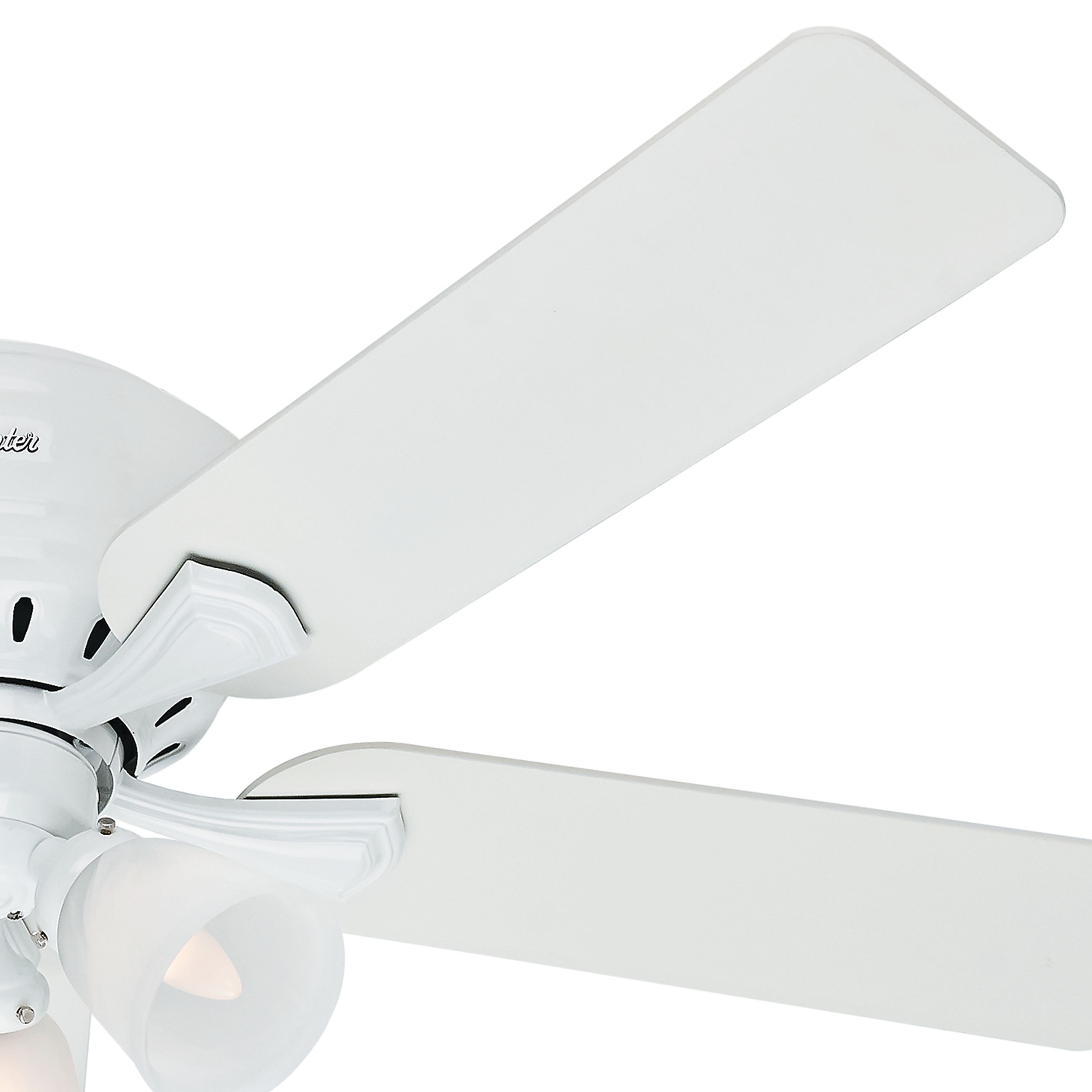 Hunter 52 Inch Snow White Finish Low Profile Ceiling Fan Installed