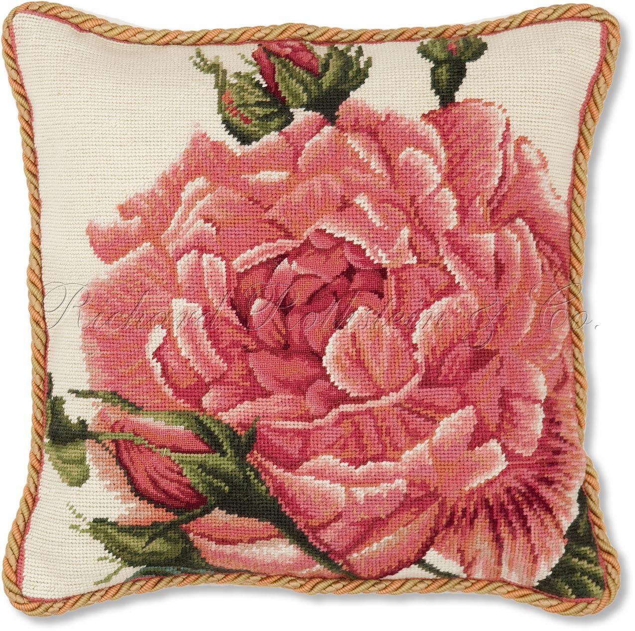 Rose Needlepoint Throw Pillow Royal Blush Rose Needlepoint Pillow