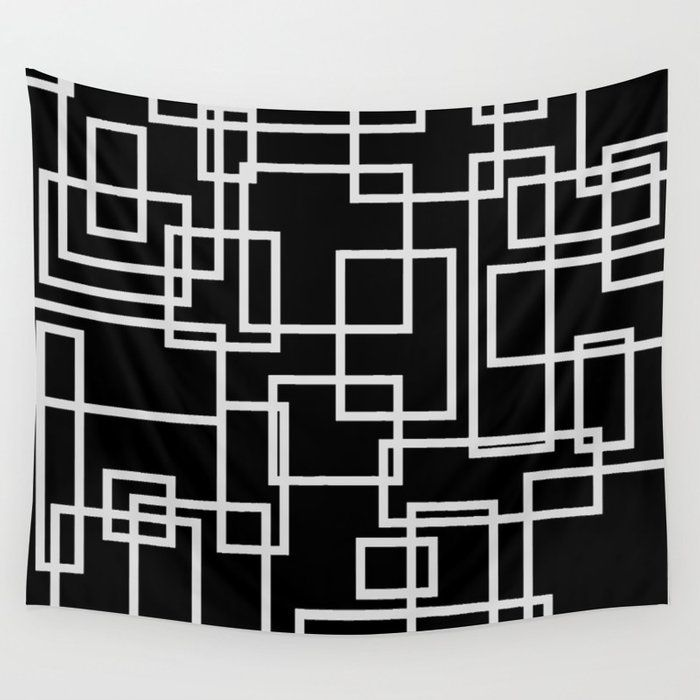 Geometric Cubic Line Pattern Black And White Wall Tapestry by lebensartdesign - click to get yours! #Tapestry #graphicdesign #lineart #purity #simplicity #pattern