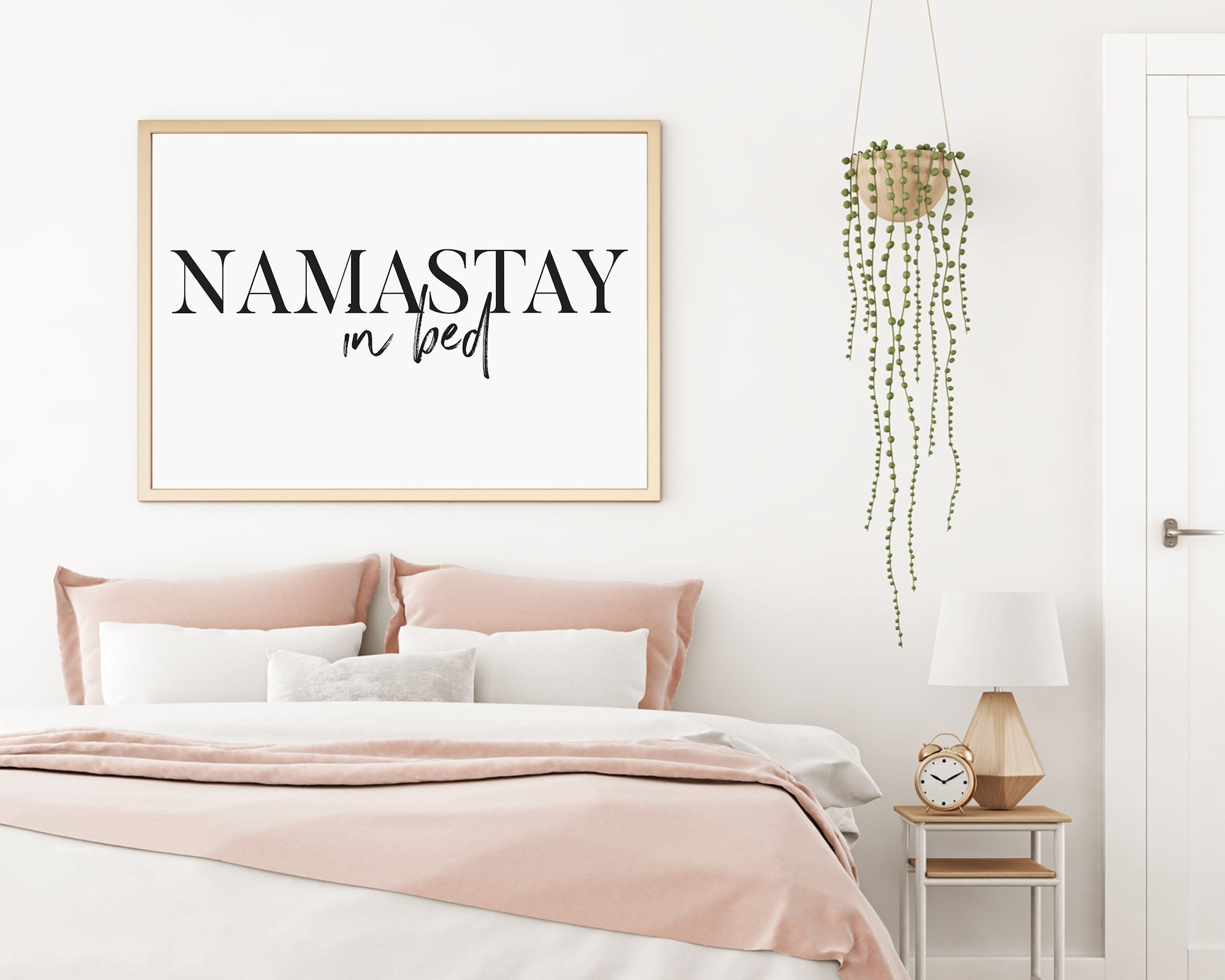 Namastay In Bed Wall Art Namaste In Bed Print Bedroom Etsy Master Bedroom Wall Decor Bedroom Wall Decor Above Bed Above Bed Decor