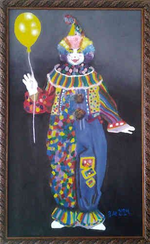 Clown - Mexican oleo painting original art by Alejandrina http://www.Mexican-Artisans.com/