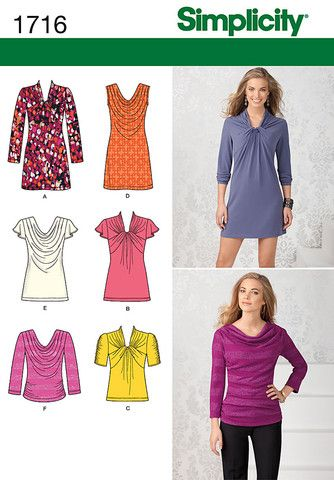Simplicity Pattern: S1716 Misses\' Knit Top and Mini Dress — jaycotts ...