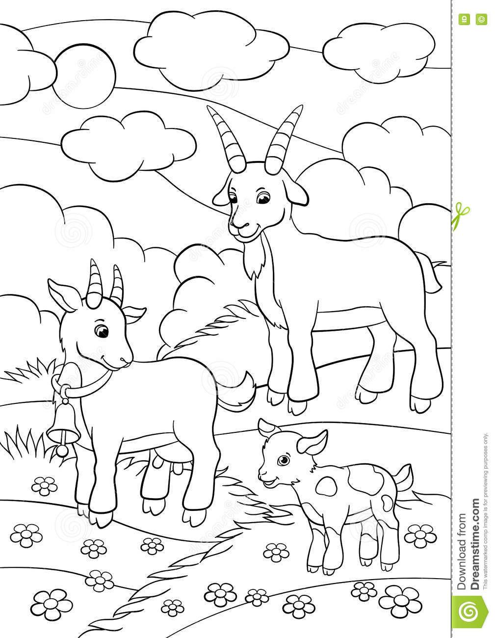 Coloring Pages Farm Animals Goat Family Stock Vector Illustration Of Contour Educat Farm Animal Coloring Pages Farm Coloring Pages Zoo Animal Coloring Pages