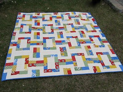 so many of this style utilize square scraps.  This one uses rectangles - very cool.