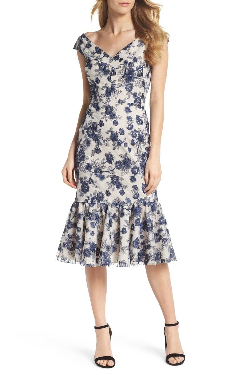 f938bd3917f Gianni Bini Misty Floral Embroidered Fluted Midi Dress