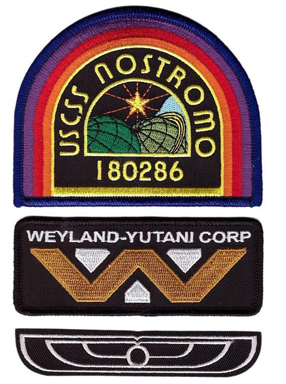 3-Piece Set BLUE Nostromo Weyland Yutani Alien Movie Costume Patches ... 1834ace60