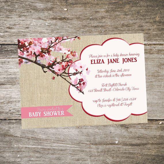 Flor de cerezo bebé ducha invitación por SabraTurnerDesigns