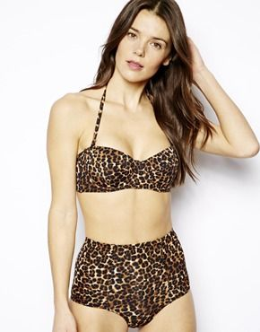 b744c0dce72e ASOS Mix and Match Leopard Print High-Waist Bikini Bottom | Summa ...
