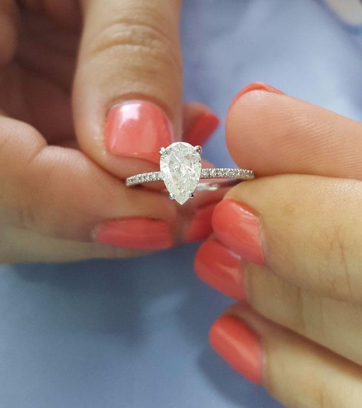 1 Carat E Si2 Pear Shape Natural Diamond Engagement Ring 14k White Gold Ct New Natural Diamond Engagement Ring Silver Engagement Rings Diamond Engagement Rings