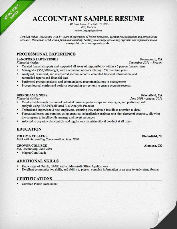 Accountant Resume Template Accountant Resume Sample  Resumes  Pinterest  Cover Letter
