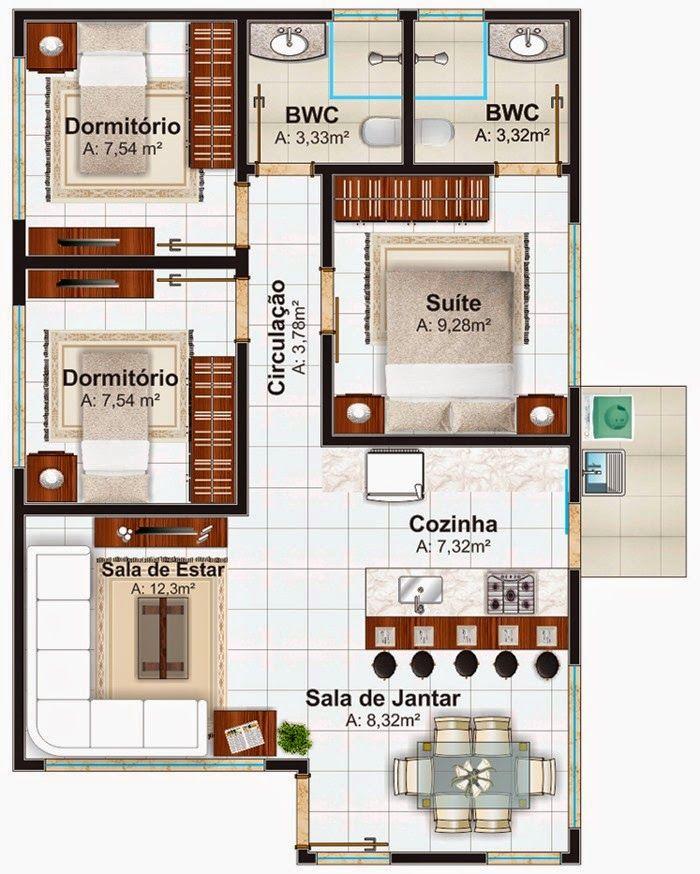 Planta de casa pequena com 3 quartos | Fotos | Pinterest | Plantas ...
