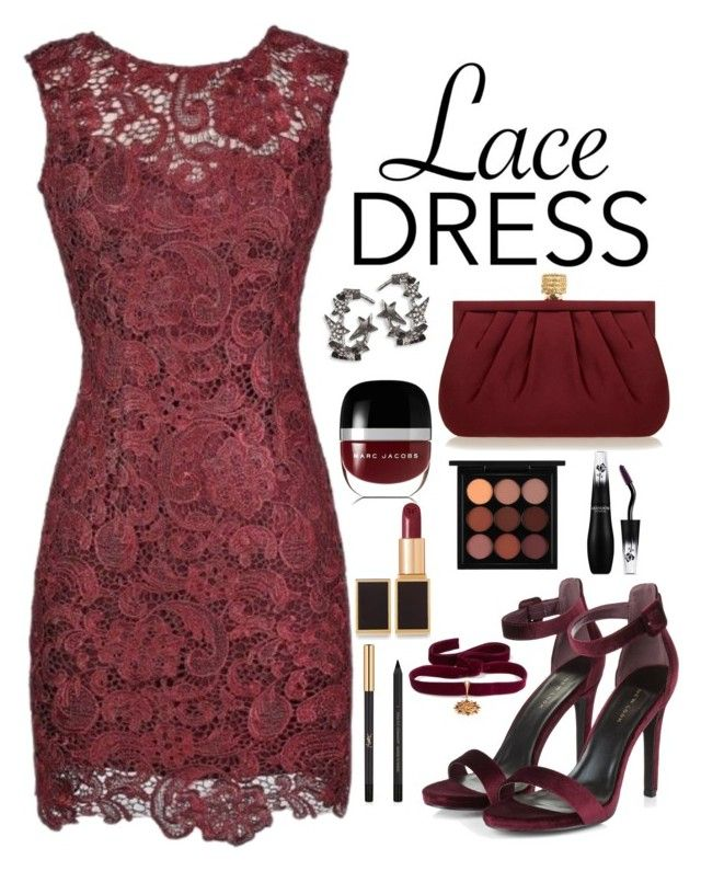 """Monochrome Burgundy: Lace Dress"" by paris-dream03 on Polyvore featuring Alythea, Diane Kordas, Wilbur & Gussie, Marc Jacobs, Tom Ford, MAC Cosmetics, Yves Saint Laurent, Lancôme and Diego Percossi Papi"