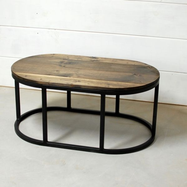 Oval Coffee Table, Round Wood Table, Industrial Table, Living Room Furniture,  Oval
