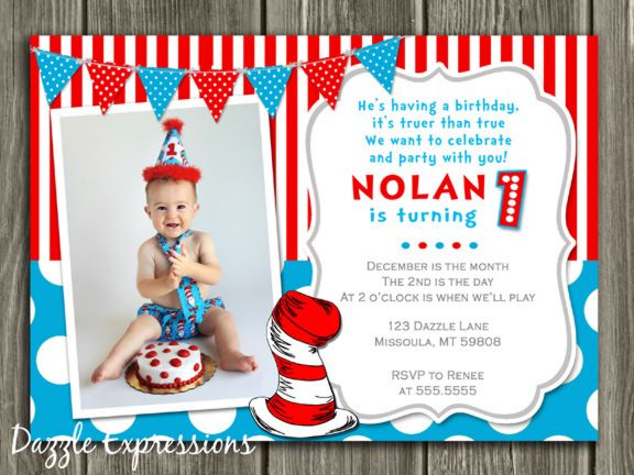 printable dr. seuss inspired birthday photo invitation | cat in, Party invitations
