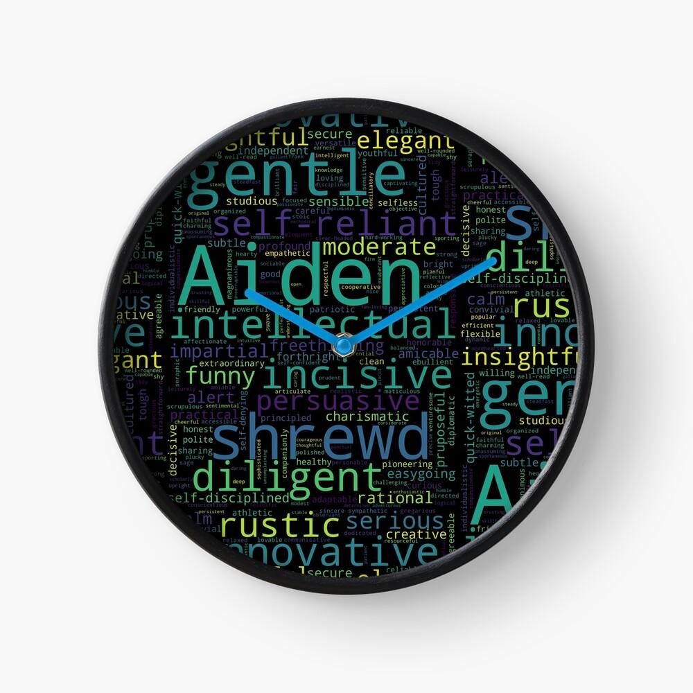 Aiden Digital Word Cloud Design Black Great For Gifts Clock Digital Word Word Cloud Design Word Cloud
