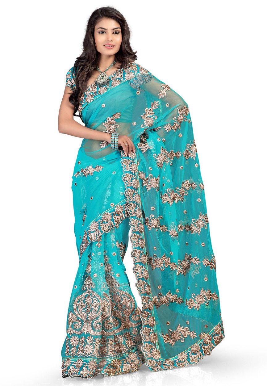 Buy Aqua Blue Net Saree with Blouse online, work: Embroidered, color: Aqua Blue, usage: Party, category: Sarees, fabric: Net, price: $84.11, item code: SYG239, gender: women, brand: Utsav