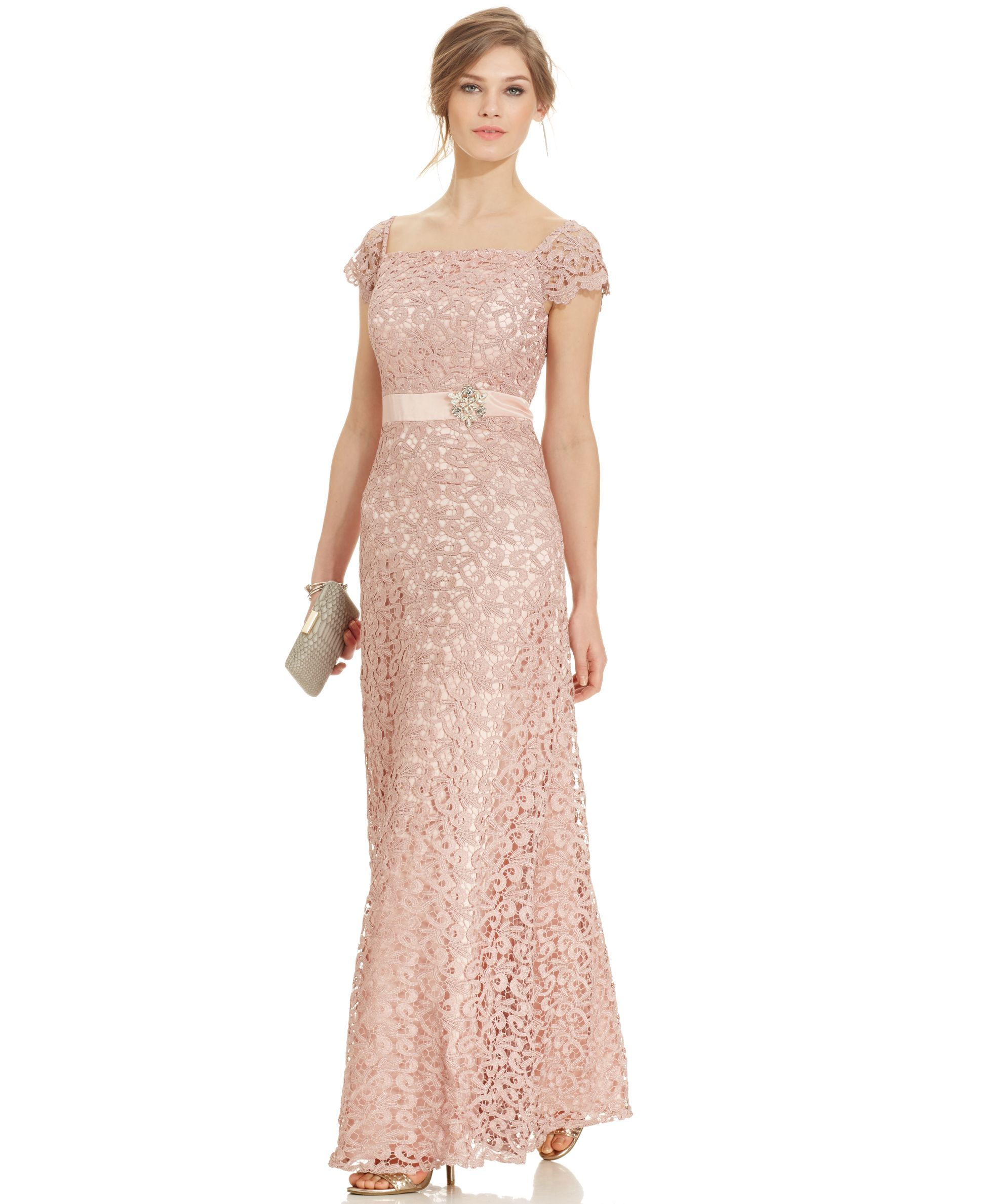Js Collections Cap-Sleeve Glitter Lace Gown | Products | Pinterest ...