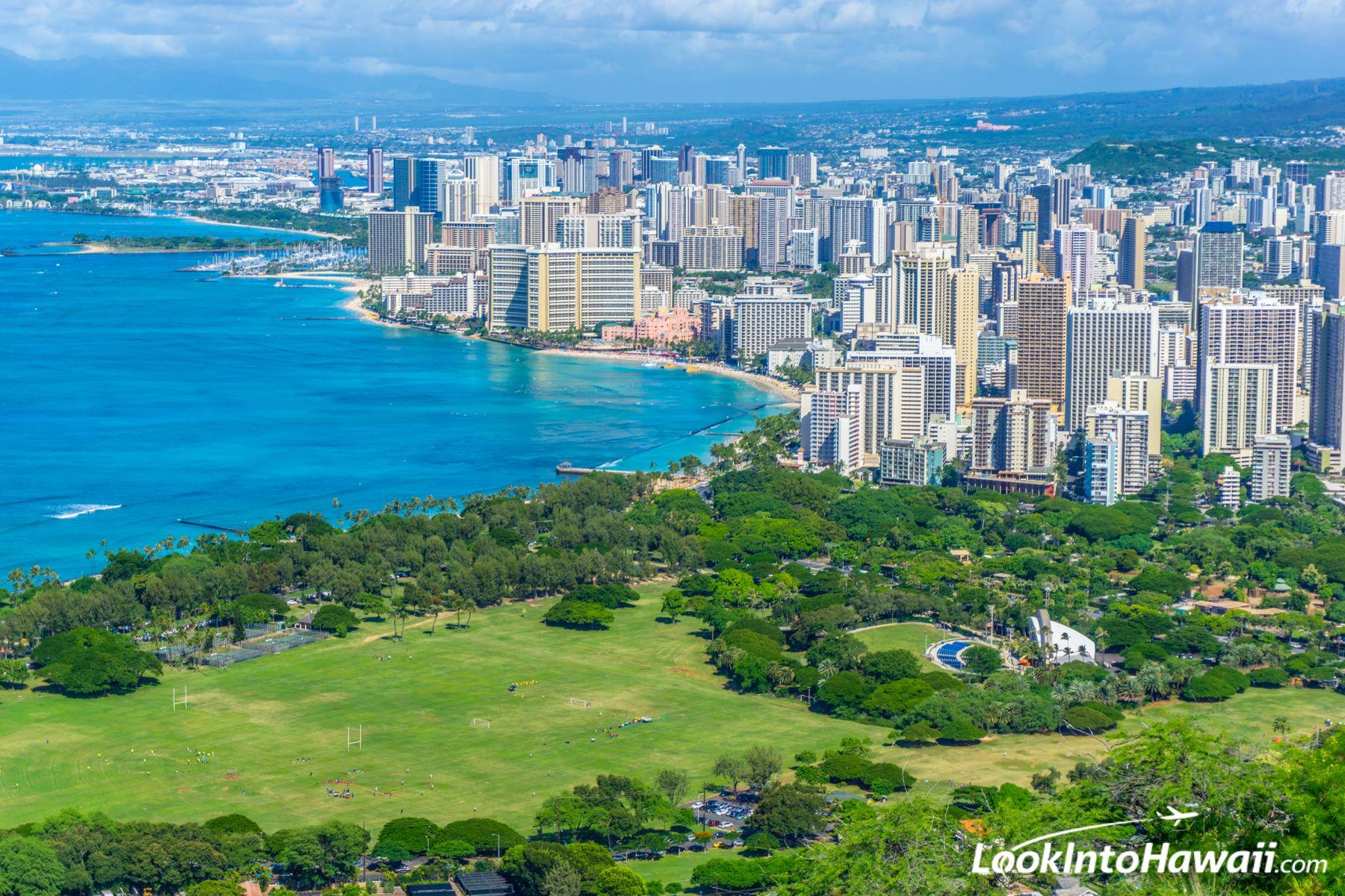View from Diamond Head - Oahu, Hawaii, LookIntoHawaii.com