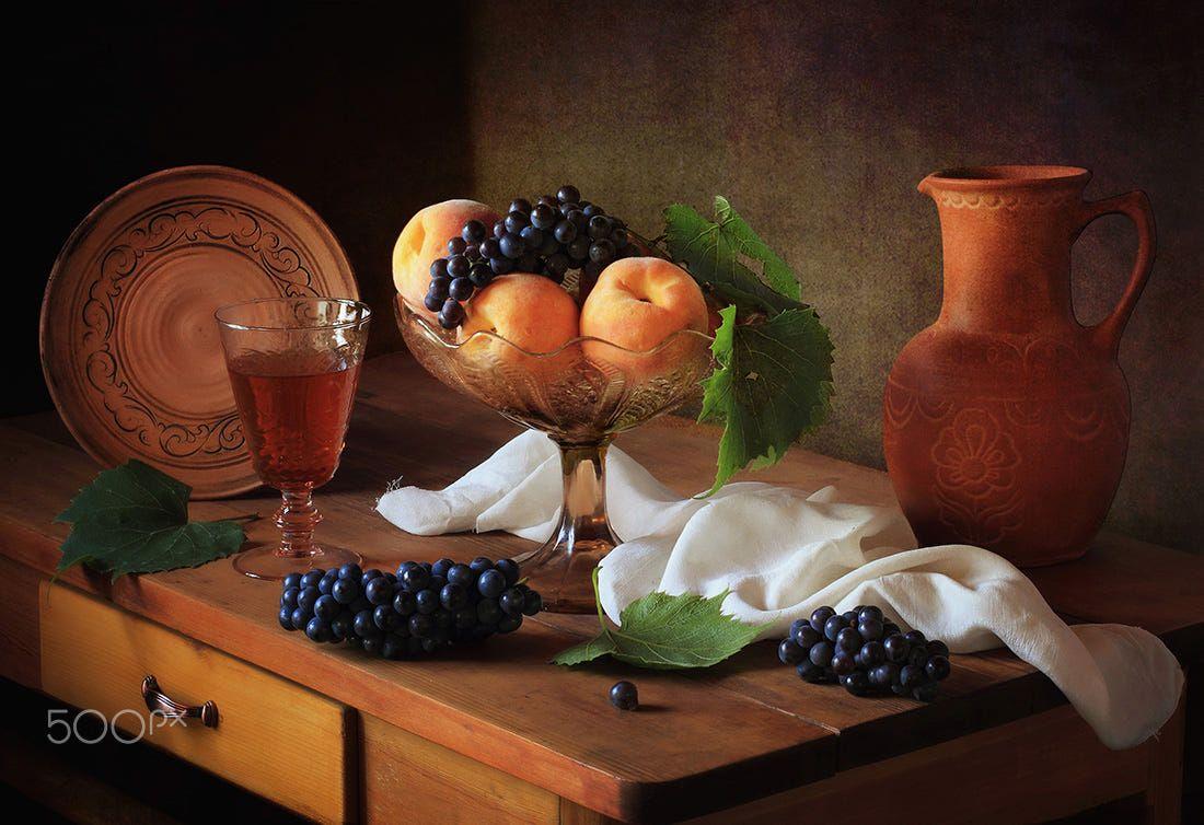 Still life with peaches and grapes by Tatiana Skorokhod on