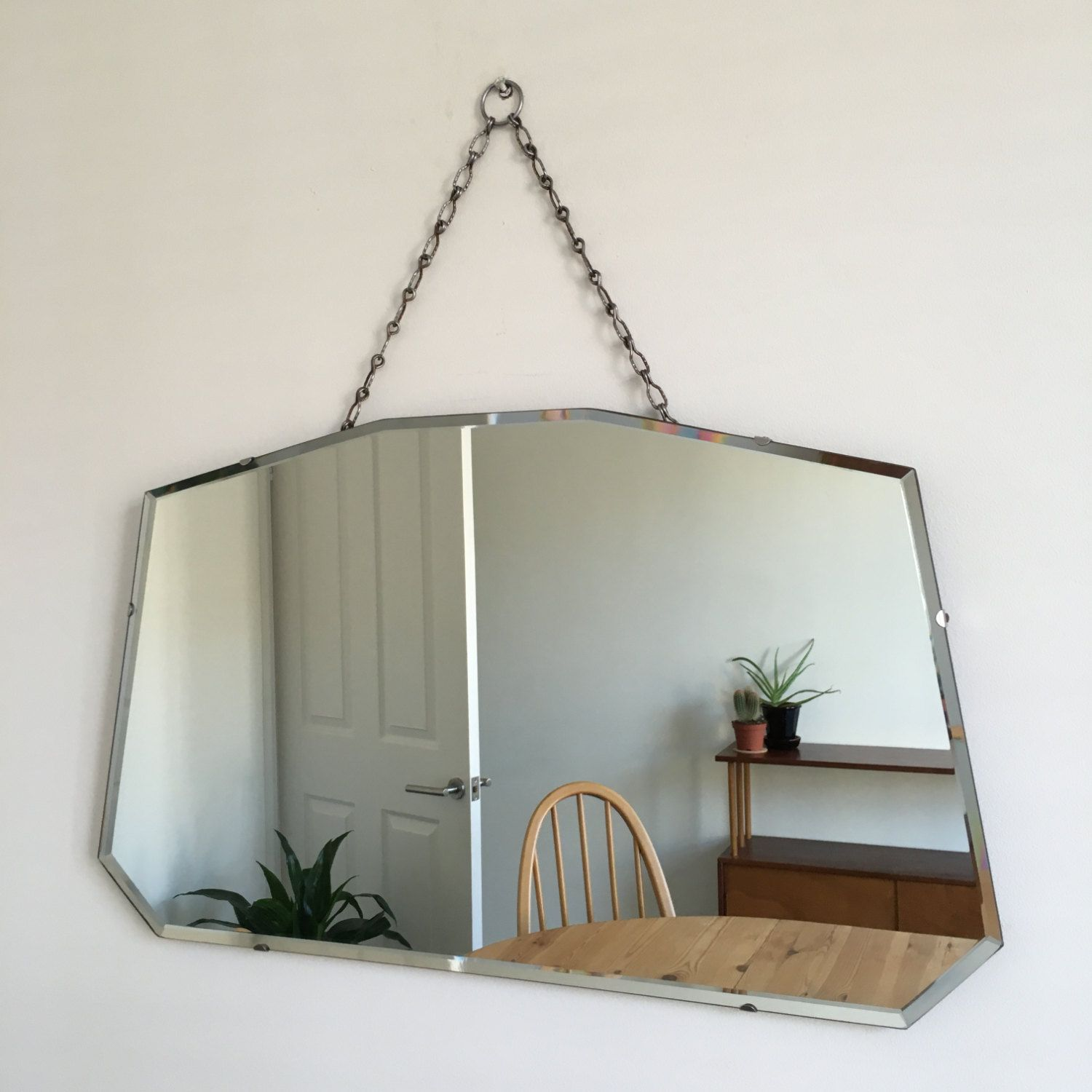 Vintage Bevelled Edge Mirror On Chain Mid Century 1940 39 S 1950 39 S 1960 39 S Beveled Edge Mirror Vintage Mirror Wall Mirror