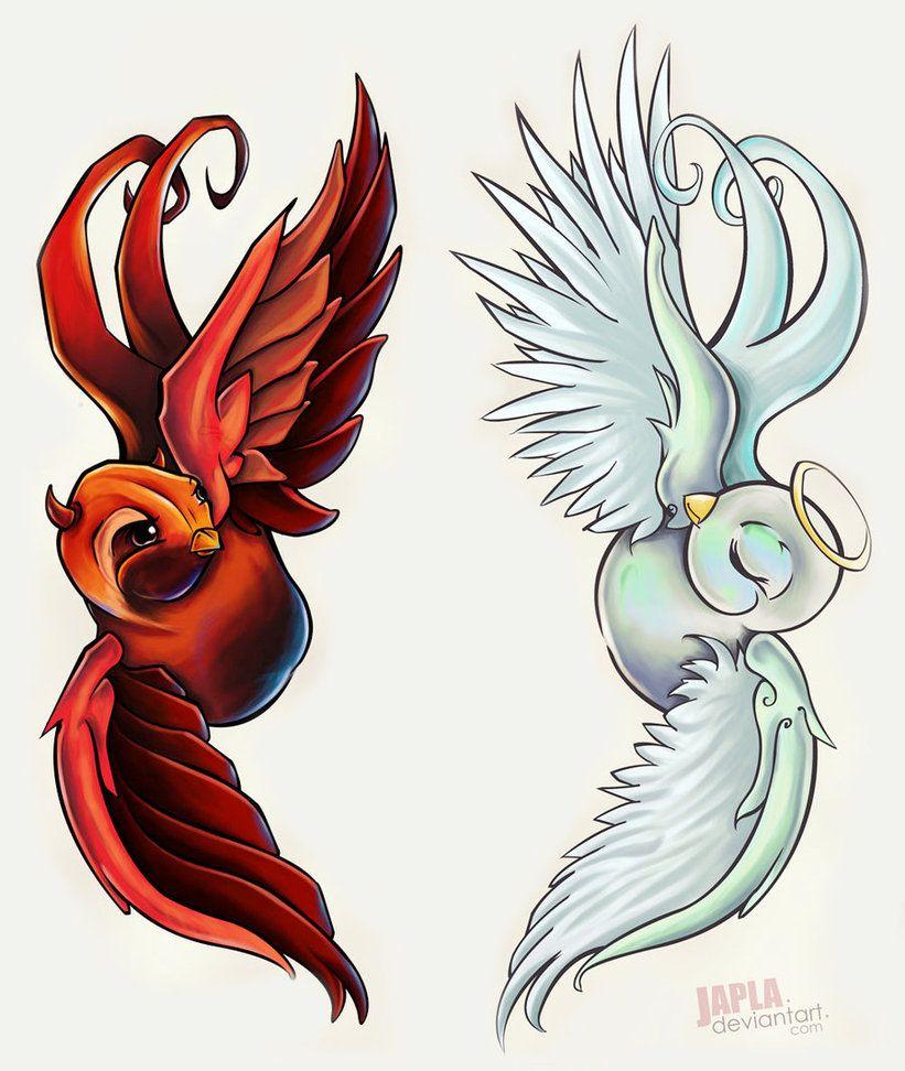 Pin On Tattoos Angel Devil Designs