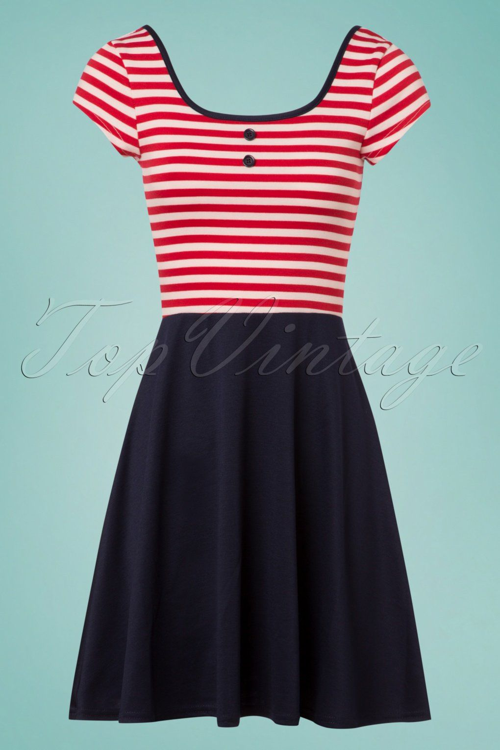 e8152e1792 ... Sailor Skater Dress in Navy and Red!Ahoy captain! You ll be completely  sailor proof thanks to her fitted bodice featuring classic red and white  stripes ...