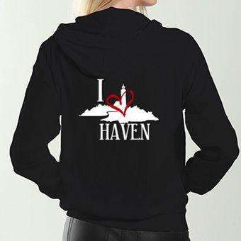 Haven Syfy Inspired Hoodies: I Love Haven White Logo Women's Black Zip Hoodie