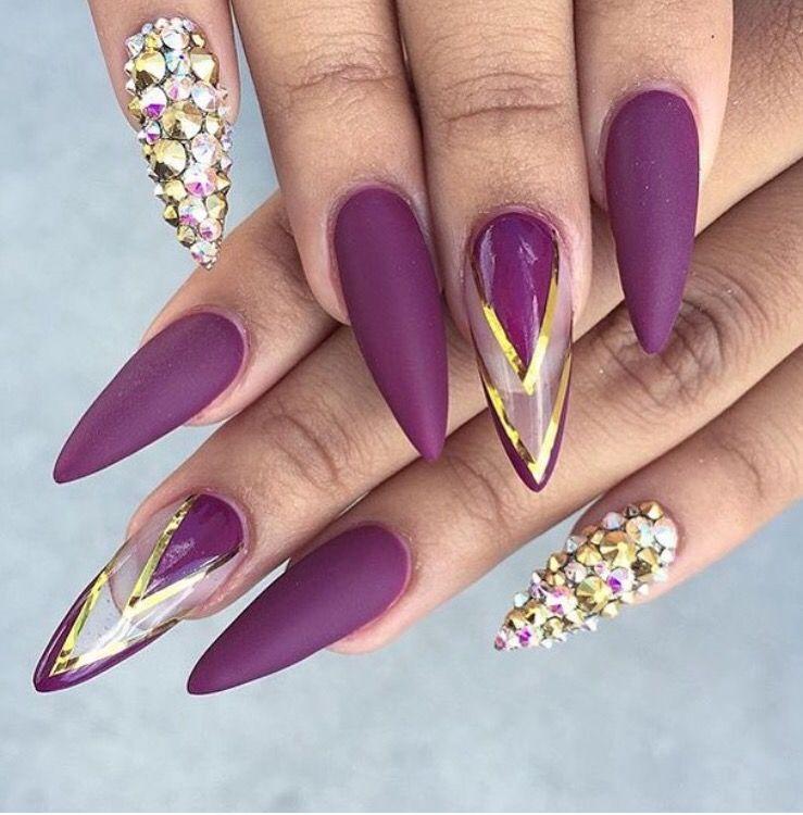 Nail shop · Purple Acrylic ... - Pin By Tiffany Davis On Nails Pinterest Negative Space, Bling
