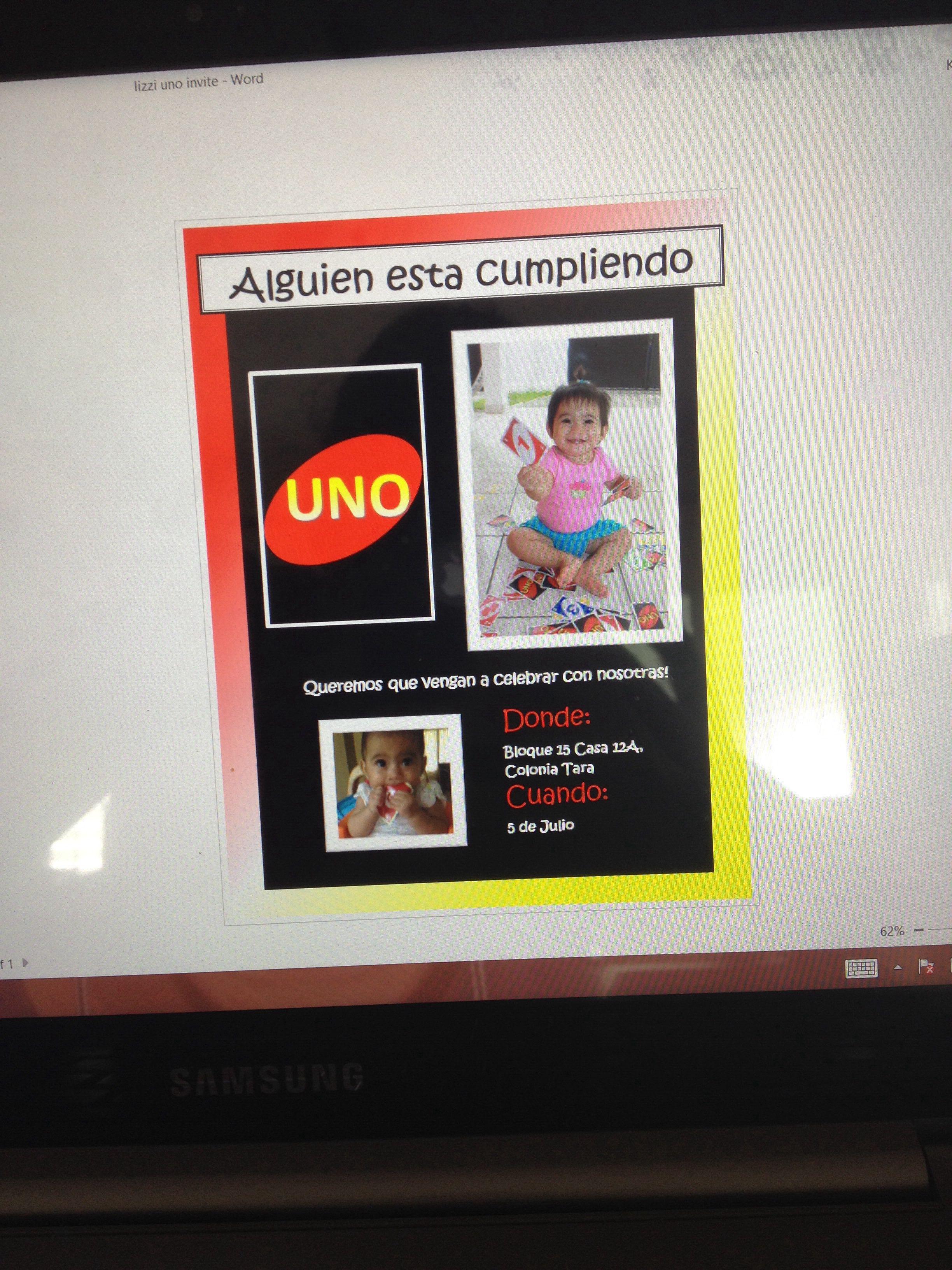 UNO themed 1st birthday invitation card front, in Spanish | Birthday ...