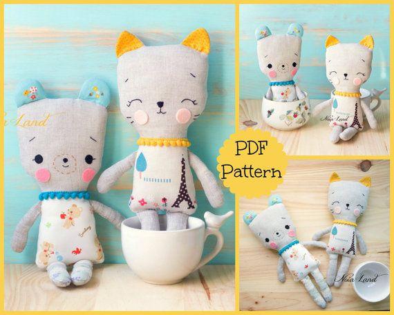 PDF pattern. Cat and Bear. Plush Doll Pattern, Softie Pattern, Soft ...