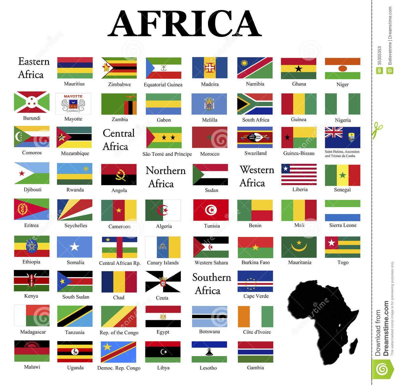 Africa Flag Printable Worksheets
