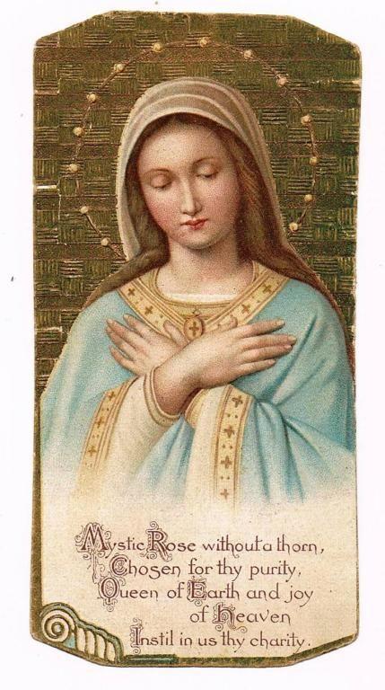 Maryja Roza Mistyczna Obrazek Sw Chromolitografia 5996868643 Oficjalne Archiwum Allegro Blessed Mother Mary Vintage Holy Cards Blessed Virgin Mary