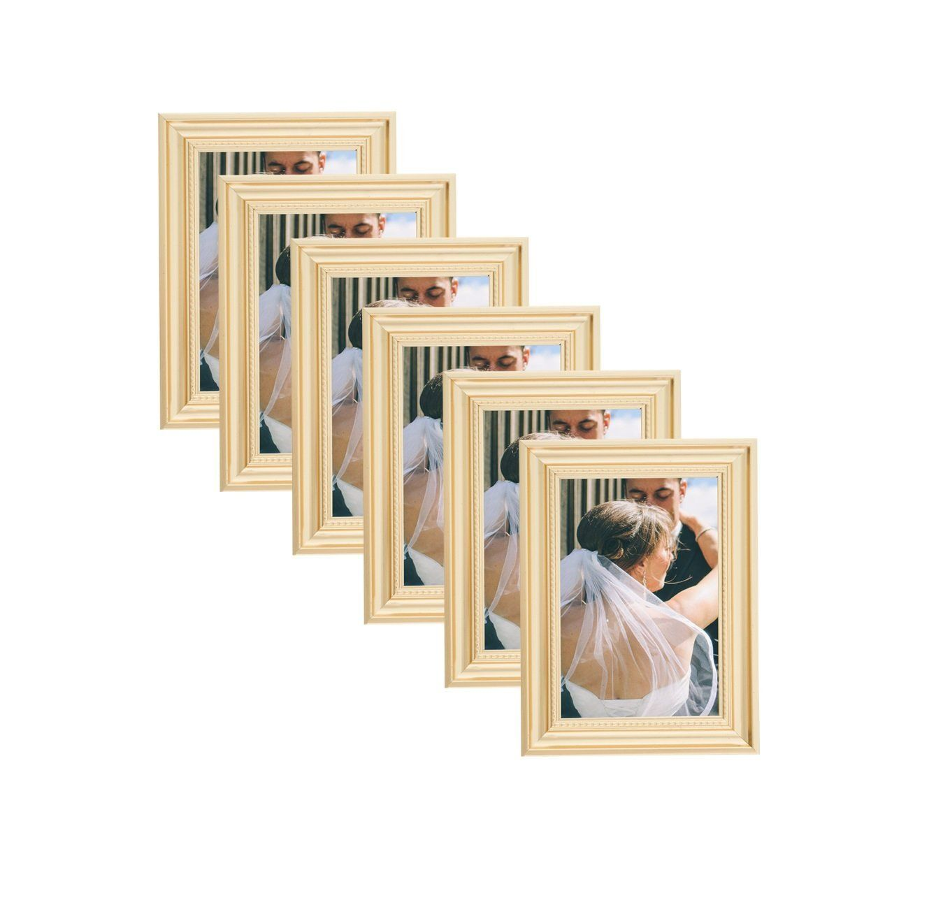 Elegant Beaded Gold Border Picture Frames 4x6 (6 pc) Display with ...