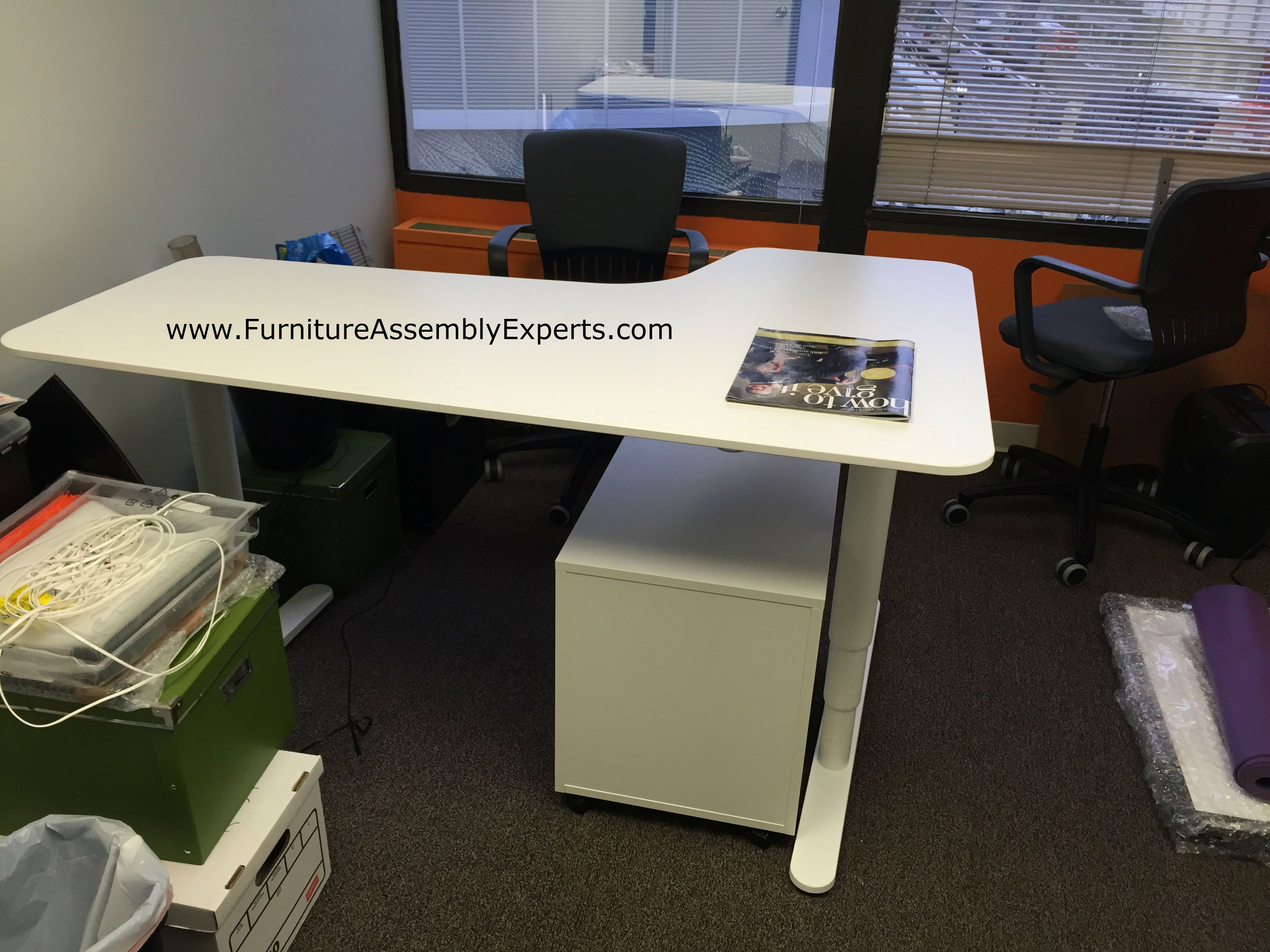 Ikea Bekant Sit Stand Electric Adjustable Height Desk With Galant File Cabinet Assemb Ikea Furniture Assembly Adjustable Height Desk Electric Ikea Office Decor