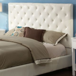 Sophie Tufted White Faux Leather Queen-size Platform Bed   Overstock™ Shopping - Great Deals on Beds