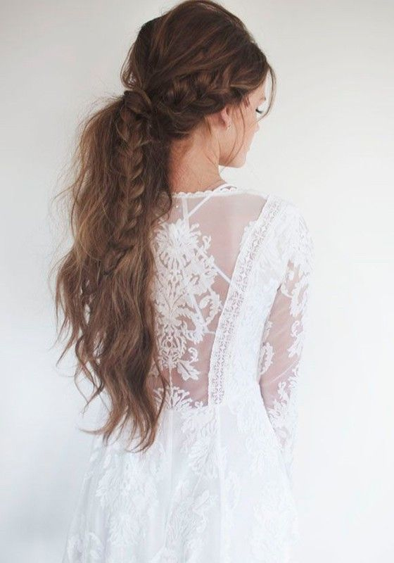 White Plain Hollow Out Grenadine Plunging Neckline Long Sleeve Lace Dress Braided Ponytail Hairstyles Medium Hair Styles Hair Styles