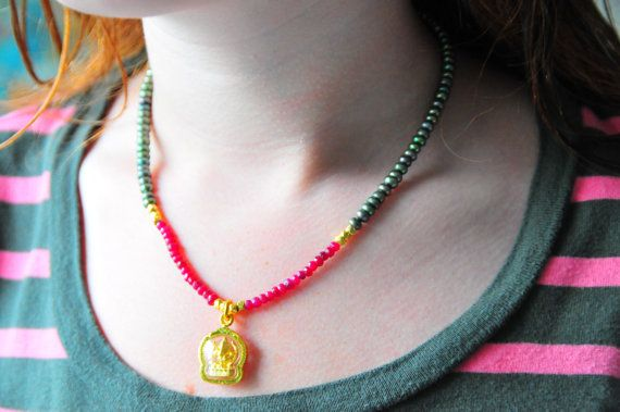 Ganesh necklace with rubies and pearls / yoga necklace by Tarinee, $80.00