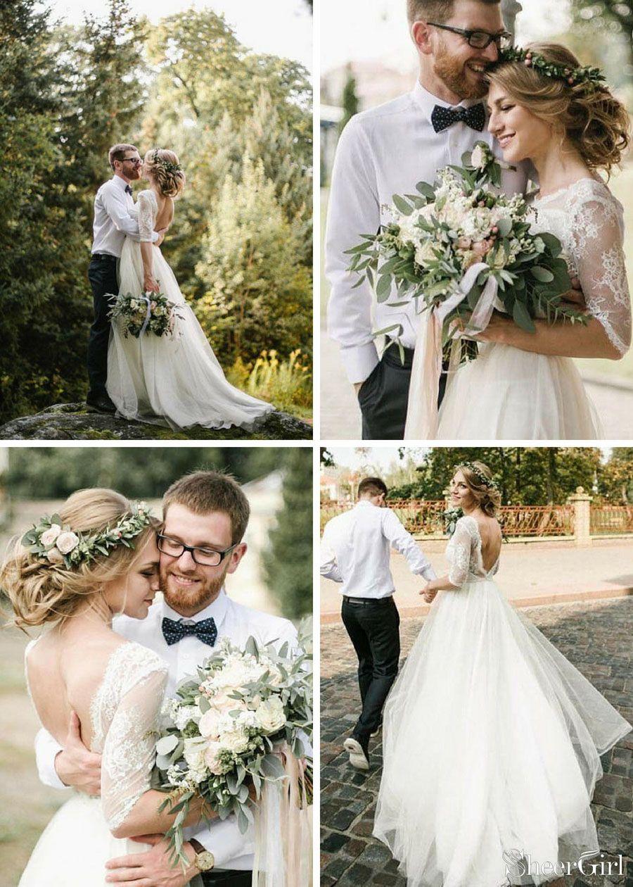 Half Sleeve Ivory Wedding Dresses Backless Tulle Country Dress Weddingdresses Weddingdress Weddings Weddinginspiration Beachwedding: See Through Country Wedding Dresses At Reisefeber.org