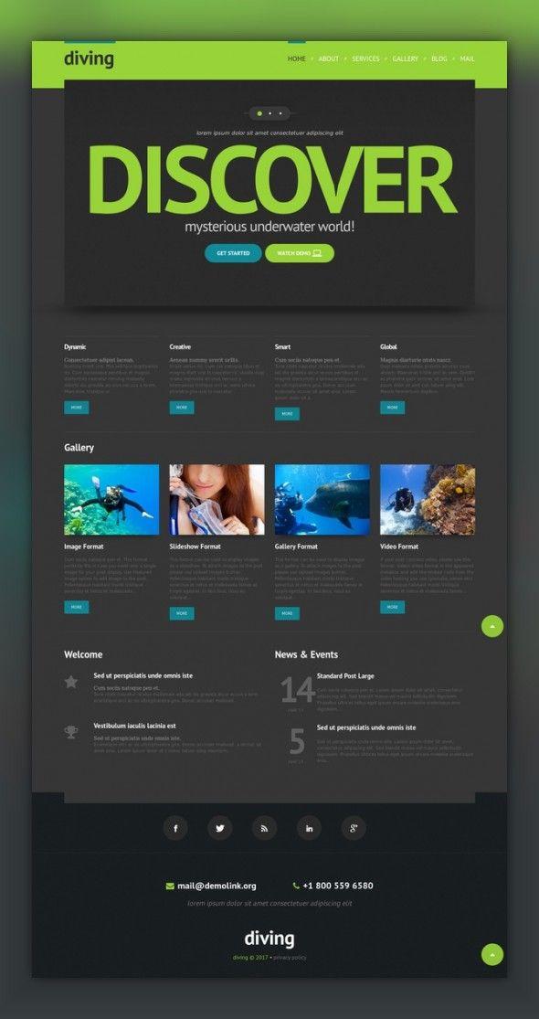 Diving Responsive Wordpress Theme Wordpress Theme Responsive Wordpress Theme Web Template Design