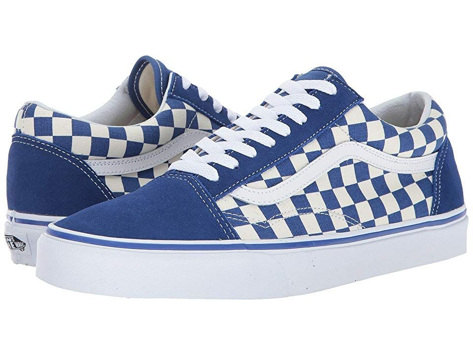 f2d8aa51 Vans Old Skooltm Skate Shoes (Primary Check) True Blue/White ...